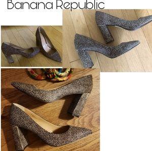 "Banana Republic ""Madison"" fur block heels. Sz 10"
